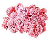 【19blue】 バラ 造花 50個 8cm ブーケ ローズ 薔薇 結婚式 2次会 パーティー 装飾 (ピンク)