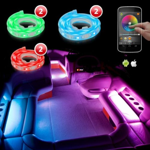 2X 26 Inch + 2X33 Inch + 2X53 Inch Led Boat Marine Lighting Ios Android Wifi Iphone Ipad App Control Dream Color Flexible Strip 113 Patterns Led Boat Interior Glow Neon Accent Light Kit Xk Silver Series