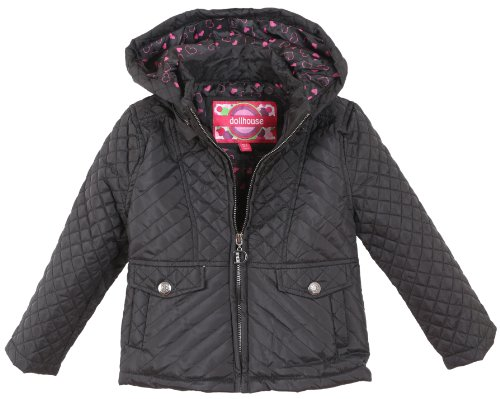 Dollhouse Big Girls Quilted Spring Trench Jacket with Hood