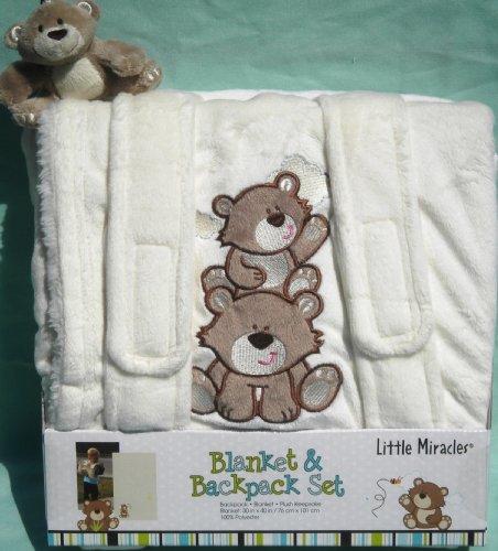 Little Miracles Blanket & Backpack Plush Teddy Bear Keepsake Toy Off White NEW