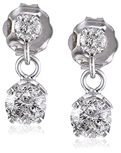 14k White Gold 2-Stone Diamond Drop Dangle Earrings (1/2 cttw, L-M color, I2-I3 clarity)