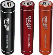 (3 Pack) COM-PAD Powerbank 3000 USB Akku Ladegerät - Schwarz+Rot+Orange