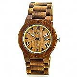 Mens KOA wood case band Wood Watch Quartz Movement Wristwatch Watch Dress Calendar Display W109B