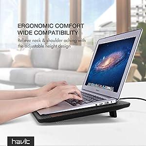 Havit HV-F2056 15.6-17 Inch Laptop Cooler Cooling Pad - Slim Portable USB Powered (3 Fans) (Black+Red) (Color: Black+Red)
