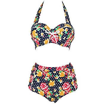Swimsuit, Abary Vintage High Waisted Flowers Polka Dots Bikini