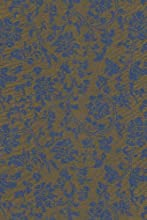 Satin Brocade Book Cloth- Blue Floral on Copper 26x36 Inch Sheet