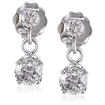 14k White Gold 2-Stone Diamond Drop Dangle Earrings (1/2 cttw, L-M color, I2-I3 clarity): Jewelry