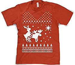 North Star Reindeer Humping Moose RED T Shirt Ugly Sweater Christmas Tee by Crazy Dog Tshirts