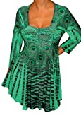 FUNFASH EMERALD GREEN RHINESTONES EMPIRE WAIST TOP SHIRT Plus Size MADE in USA