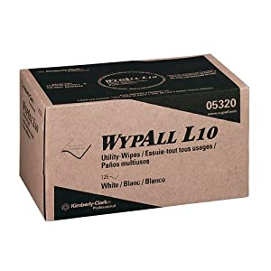 Kimberly-Clark Professional : WYPALL L10 Utility Wipers, 9 x 10.5, Pop-Up, White, 125/Box -:- Sold as 2 Packs of - 2250 - / - Total of 4500 Each