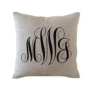 Custom Monogram Pillow Case Birthday Gift Personalized Gift