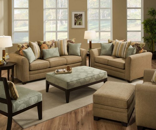 SIMMONS AVIGNON SOFA LOVE SEAT CHAIR OTTOMAN CHENILLE 4 PC TAN BLUE NEW