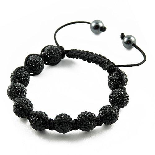 Black Pave Crystal Shamballa Bracelet