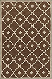 Brown & Ivory Designer Rug Contemporary 5-Foot x 7-Foot 6-Inch Hand-Made Geometric Lattice Carpet