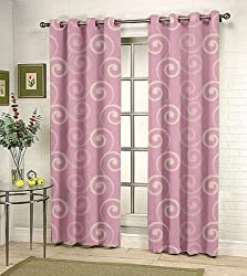 Fabutex Eyelet Woven Polyester Cotton Jacquard Door Curtain - 46x84 inches, P...