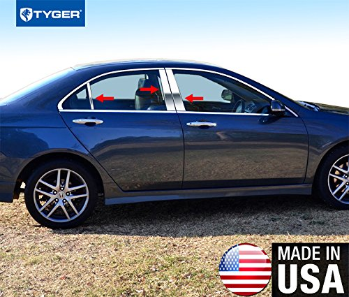 Made in USA! Fit 2003-2007 Honda Accord Stainless Steel Door Pillar Posts Chrome Cover Window Trim-6pc