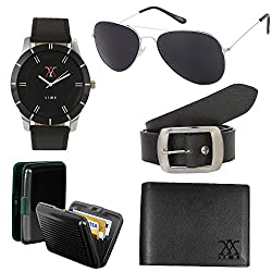 lime offers combo of aviator sunglasses with watch33 cardholder leather wallet and belt