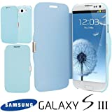 NEW SKY BLUE MAGNETIC LEATHER FLIP CASE COVER FOR SAMSUNG GALAXY S3 I9300 FREE SCREEN GUARD