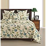 Swayam Off White And Blue Colour Floral Print Cotton Bed Sheet With Pillow Covers