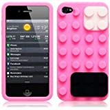 OnlineBestDigital - iPhone 4S / iPhone 4 Style brique Etui silicone / Couverture / Shell - Rose avec Blanc et Noir