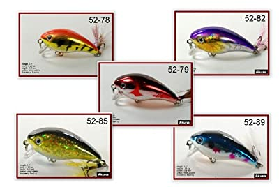 Akuna 5fla52 Shallow Diving Fishing Lure Crankbait For Bass And Trout With Matching Tail Pack Of 5 by Akuna