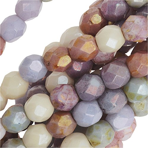 Czech Fire Polished Glass, 4mm Faceted Round Beads, 50 Piece Strand, Opaque Luster Mix (Fire Polished Beads compare prices)