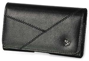 ZTE Z998 Black Leather Premium Case Pouch Belt Loop With Crossed Stitches