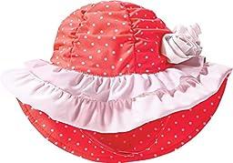 Coolibar UPF 50+ Baby Girl\'s Tutu Swim Hat - Sun Protective (One Size - Fire Coral Polka Dot)