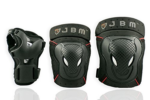 Purchase JBM BMX Bike Knee Pads and Elbow Pads with Wrist Guards Protective Gear Set for Biking, Rid...