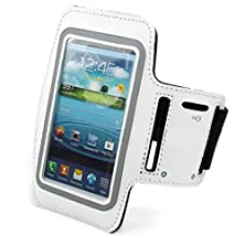 buy White Neoprene Sports Workout Fitness Gym Arm-Band Case For Samsung Galaxy Grand - Samsung Galaxy Note 2 (N7100) - Samsung Galaxy Note 3 (N9000) - Dell Streak - Huawei Ascend G7