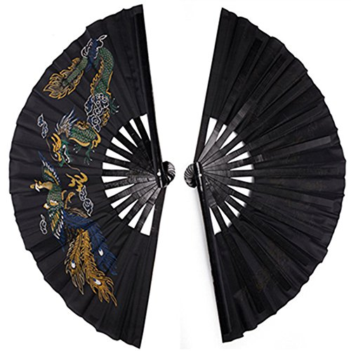 Martial Art Tai Chi Kung Fu Fighting Fan, Bamboo Frame, Black/Red, Chinese Phoenix and Dragon (Kung Fu Fighting Fan compare prices)