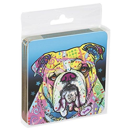 "Tree-Free Greetings 961953,75x 3.75-Inch a tema ""I' m Bullish Dean Russo Dog Art sottobicchieri in sughero, set di 4"