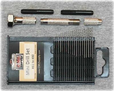 Mini Micro Drill Bit Set #61-#80 Swivel Pin Vise Combo