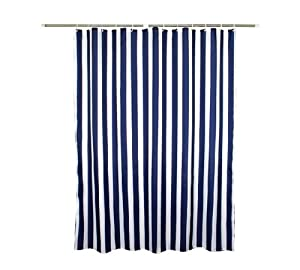 White stripes polyester shower curtain water proof vertical stripes