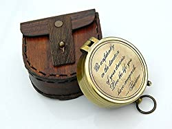 Thoreaus Go Confidently Engraved Solid Brass Compass with leather Case FREE ENGRAVING.