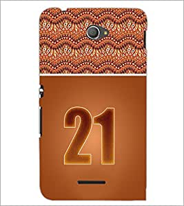 PrintDhaba Numerology Number 21 D-3656 Back Case Cover for SONY XPERIA E4 (Multi-Coloured)