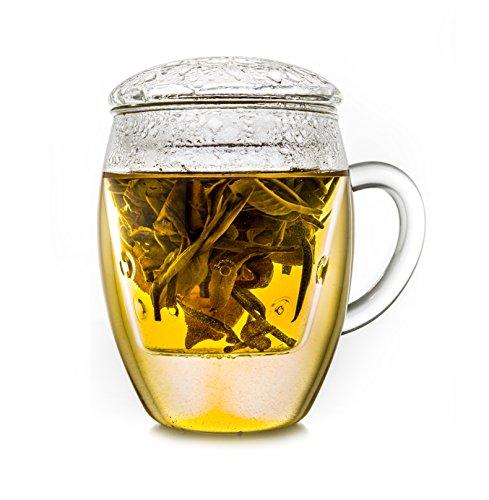 """Creano TeeGlas """"all-in-one"""" Teebecher mit Sieb und Deckel, Teetasse 400 ml, Latte Macchiato-Glas, 3-teilig"""