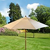 Home & Garden Direct 3m Hexagon Wooden Garden Parasol Cream