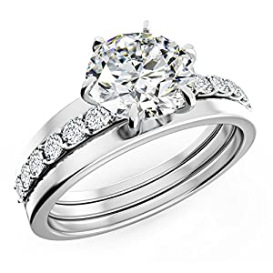 Uhibros Sterling Silver Cubic Zirconia Engagement Rings Wedding Band Bridal Set for Women(size 6)