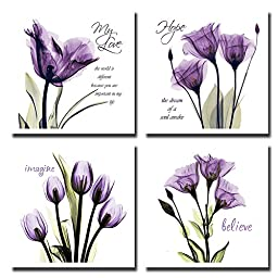 Spirit Up Art 4Pcs/Sets Huge Modern Giclee Prints Framed Artwork Love Hope Imagine and Believe Purple Flowers Pictures Photo Paintings Print on Canvas, Wall Art for Home Walls Decor, Ready to Hang