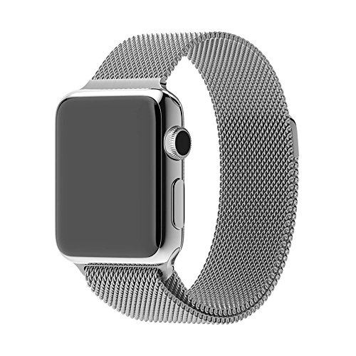 Evershop® Stainless Steel Magnetic Closure Clasp Bracelet Metal Smart Watch Band Strap for Apple Watch iwatch, Wrist Band for Apple Watch & Sport & Edition 42mm (Silver)