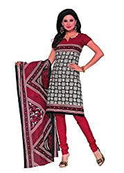 Araham Black White and Red Printed 100% Cotton Unstitched Salwar Suit Dress Material