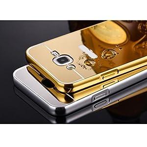 FUA® Galaxy J5 Case, Rhinestone Metal Frame PC Mirror Back Case Cover For Samsung Galaxy J5 - by FUA®