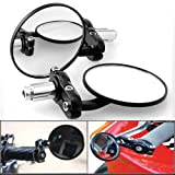 "2X 3"" Euro Style Universal 2 Way Multi Angle Adjustable Billet Aluminum Black Anodized 7/8"" Handlebar Motorcycle Bar End Blindsight Rearview Convex Side Mirror For Cruiser Chopper Touring Standard Naked Street Racing Sport Bike"