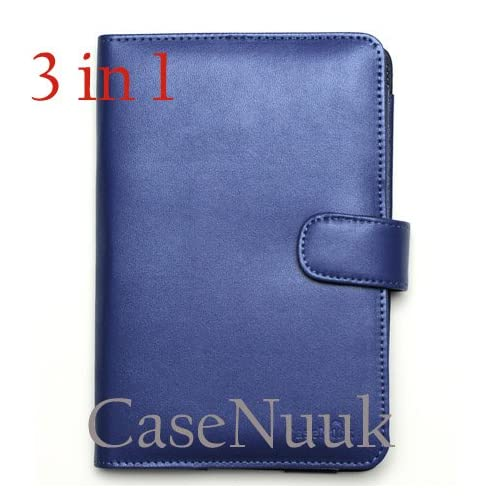Navy Blue Kindle Fire Folio Case Cover w/ Screen Protector & Stylus