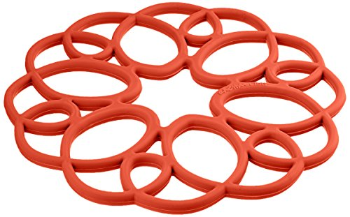 Rachael Ray Silicone Heat Resistant Multi-Use Medallion Design Trivet, Brick Red (Rachael Ray Spoon Rest compare prices)