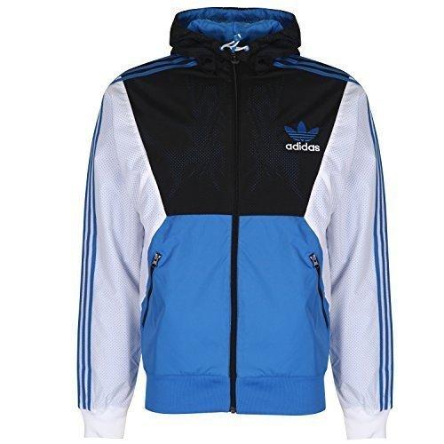 Giacca a Vento Adidas Originals da Uomo, Leggera - Blu/ Bianco/ Nero, Poliestere, Small
