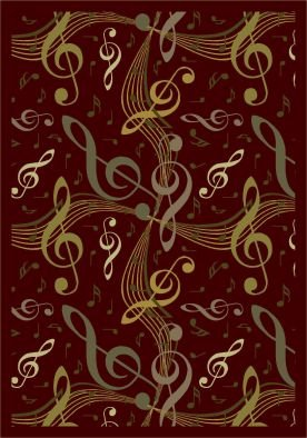 "Joy Carpets Kid Essentials Music & Special Needs Virtuoso Rug, Burgundy, 10'9"" x 13'2"""