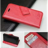 HEP Wallet Style Horse LEATHER Flip Case Cover For APPLE IPHONE 5 5S FLiP Cover-Red