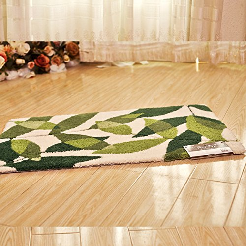 hdwn-thickening-acrylic-latex-back-carpet-mat-leaves-door-mat-5585-80120-green-and-white-5585